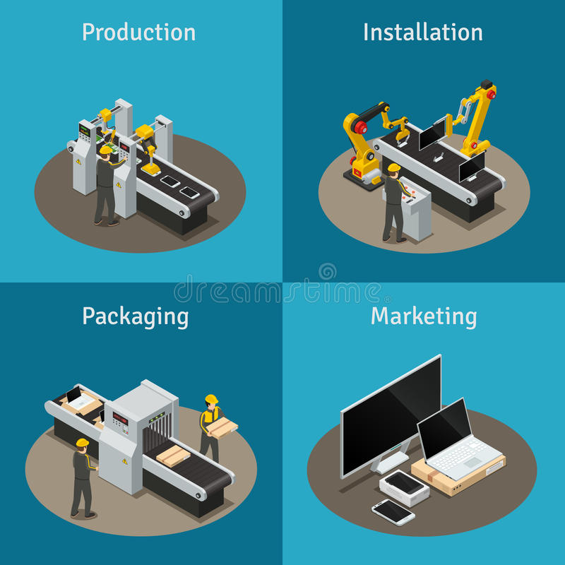 Electronics Factory Isometric Composition royalty free illustration