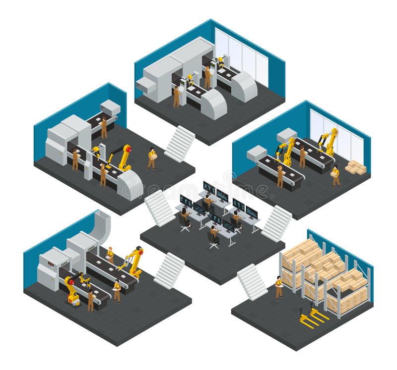 Electronics Factory Isometric Multistory Composition stock illustration