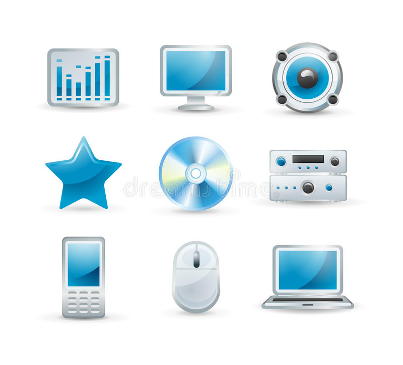 Download Electronics icon set stock vector. Image of device, monitor - 18007157