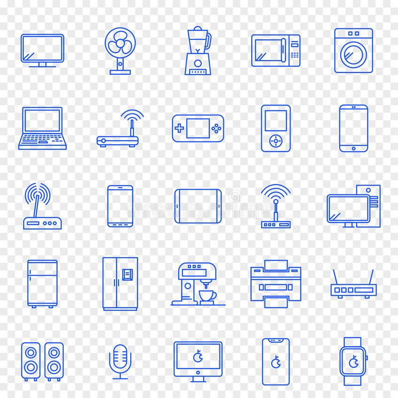 Free Electronics Icon Set. 25 Vector Icons Pack Royalty Free Stock Photos - 133947538