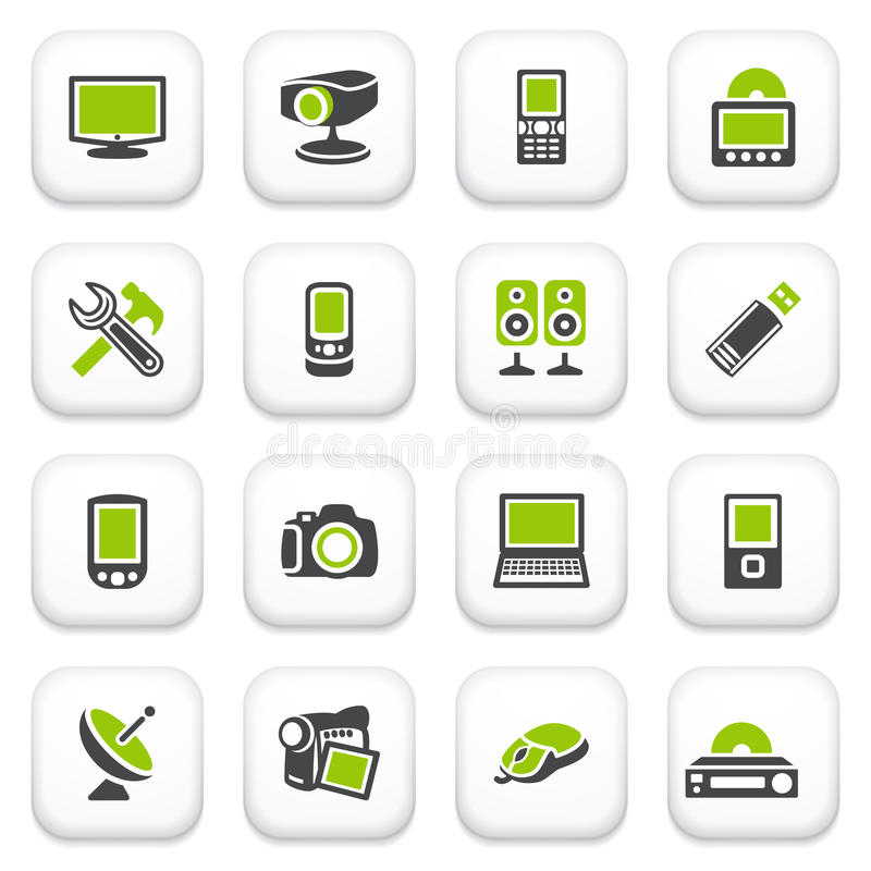 Electronics Icons. Green Gray Series. Stock Photo