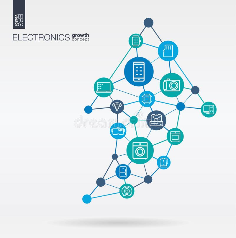 Electronics Integrated Thin Line Icons Graph Chart Growth Progress