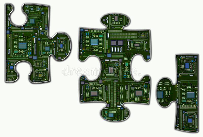 Electronics Jigsaw. Illustration of Circuit Board jigsaw puzzle pieces vector illustration