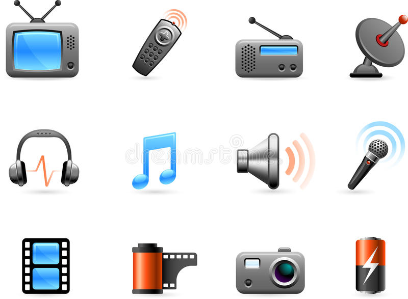 Electronics and Media icon collection royalty free illustration