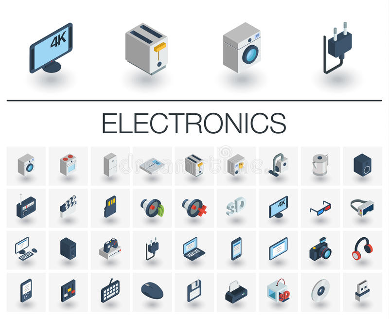 Electronics and Multimedia isometric icons. 3d vector vector illustration