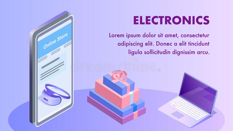 Electronics Online Store Isometric Banner Template royalty free illustration