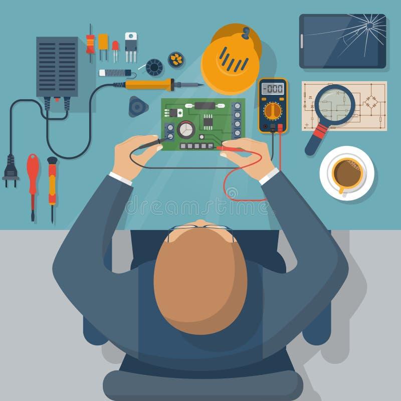 Electronics repair vector. Electronics repair. Tester checking. Multimeter in hands of man. Calibration, diagnostics, maintenance, electronics repair and vector illustration