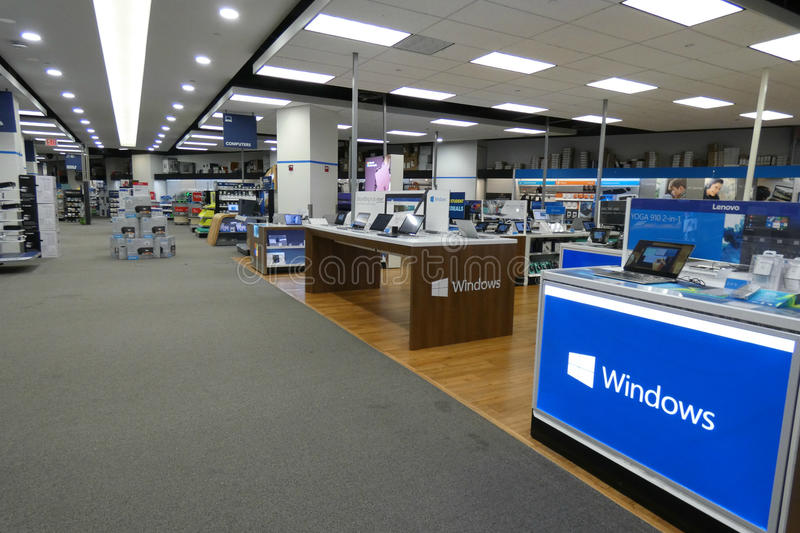 Electronics Store. The computer section of a Best Buy Store, in New York City royalty free stock photography