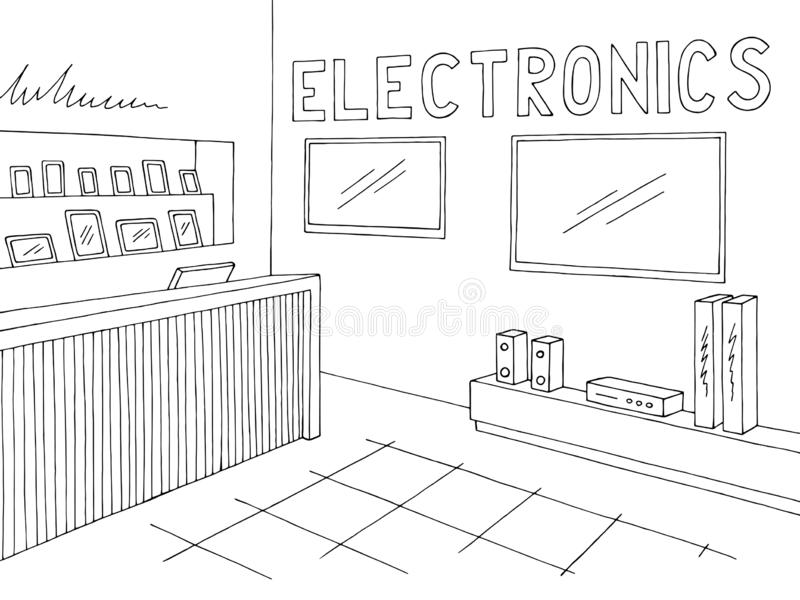 electronics shop inside  stock vector  illustration of flat