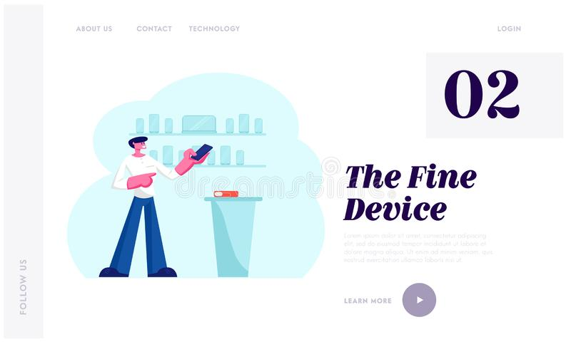 Electronics Store Retail Gadgets Business Website Landing Page. Sales Manager in Mobile Phone Shop Presenting Smartphone vector illustration