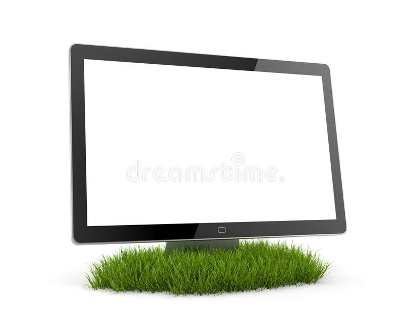 Computer Monitor in grass royalty free illustration