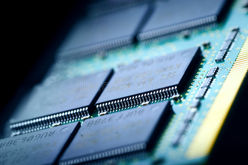 The electronics technology. Close up view to memory module royalty free stock images