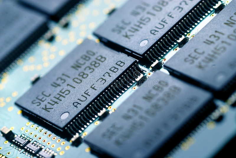 The electronics technology. Close up view to memory module royalty free stock photo