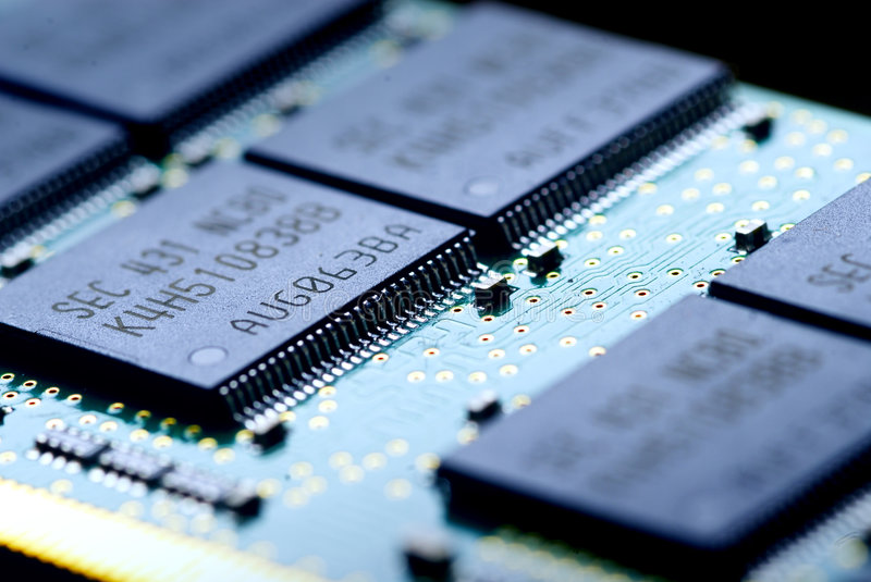 The electronics technology. Close up view to memory module stock images
