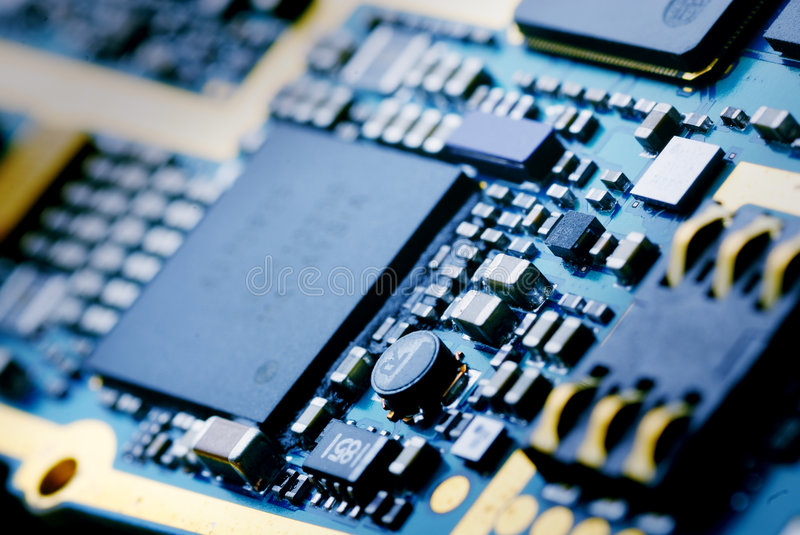 The electronics technology. Close up view to memory module royalty free stock photography