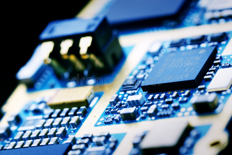 Memory module electronics technology. Close up view of blue memory module stock photography