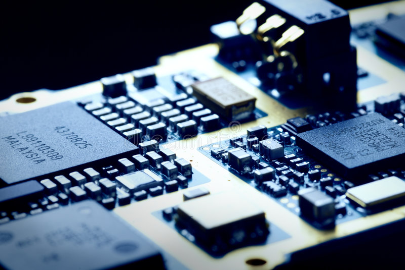 The electronics technology. Close up view to memory module royalty free stock image