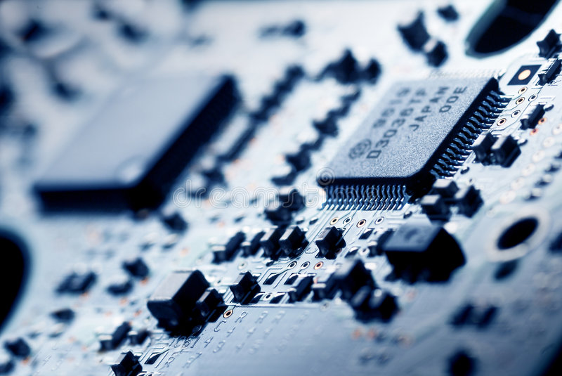 The electronics technology. Close up view to memory module stock image