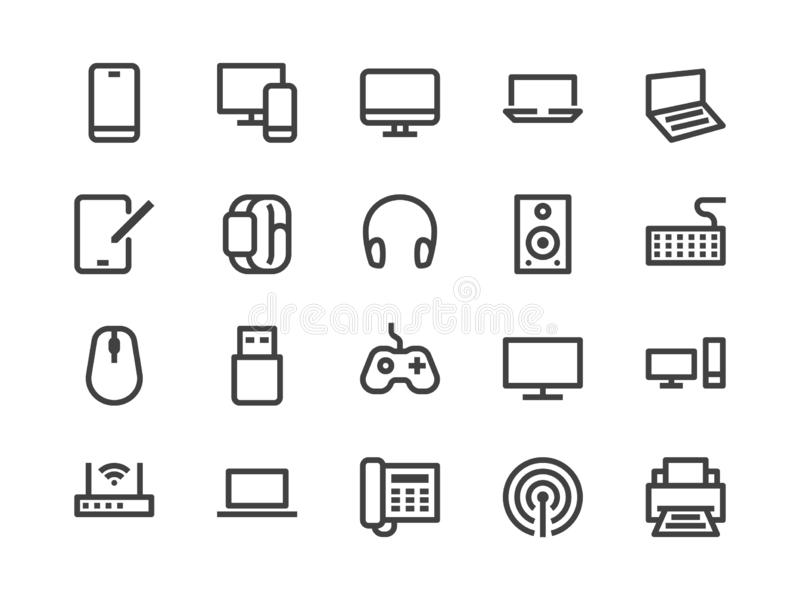 Electronics, Technology Store Line Icon. Vector Illustration Flat style. Included Icons as Tv, Computer, Phone, Audio. Devices and more. Editable Stroke. 30x30 royalty free illustration