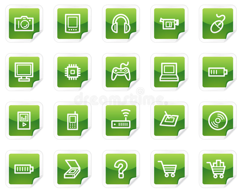 Download Electronics Web Icons, Green Sticker Series Stock Vector - Image: 8988805