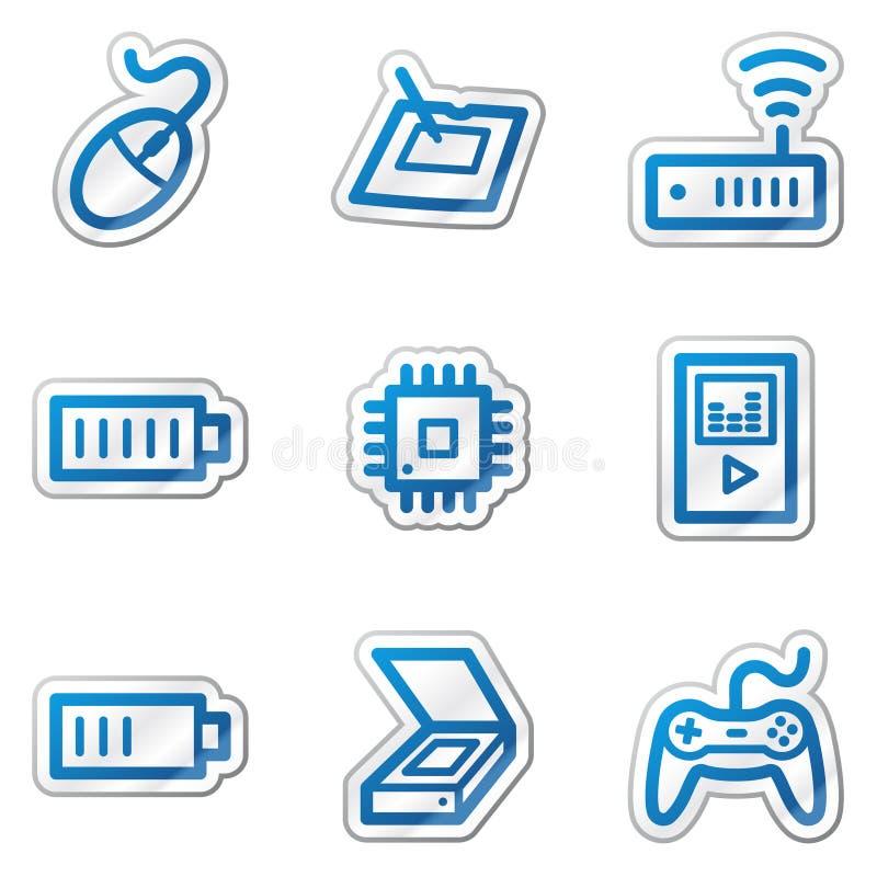 Free Electronics Web Icons Set 2, Blue Contour Sticker Stock Photography - 11781812