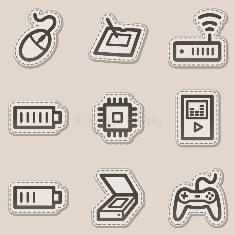 Electronics web icons set 2, brown contour sticker