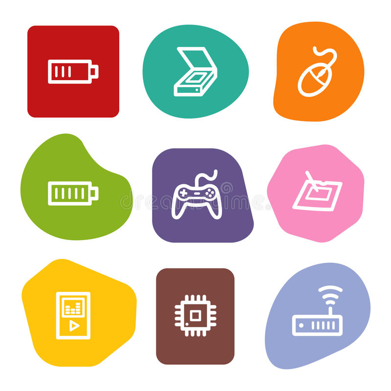 Download Electronics Web Icons Set 2, Colour Spots Series Stock Vector - Illustration of vector, games: 10306910
