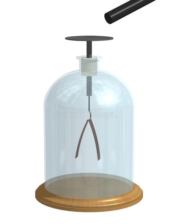 Electroscopio con las hojas abiertas Física ejemplo 3d aislado en un fondo blanco libre illustration