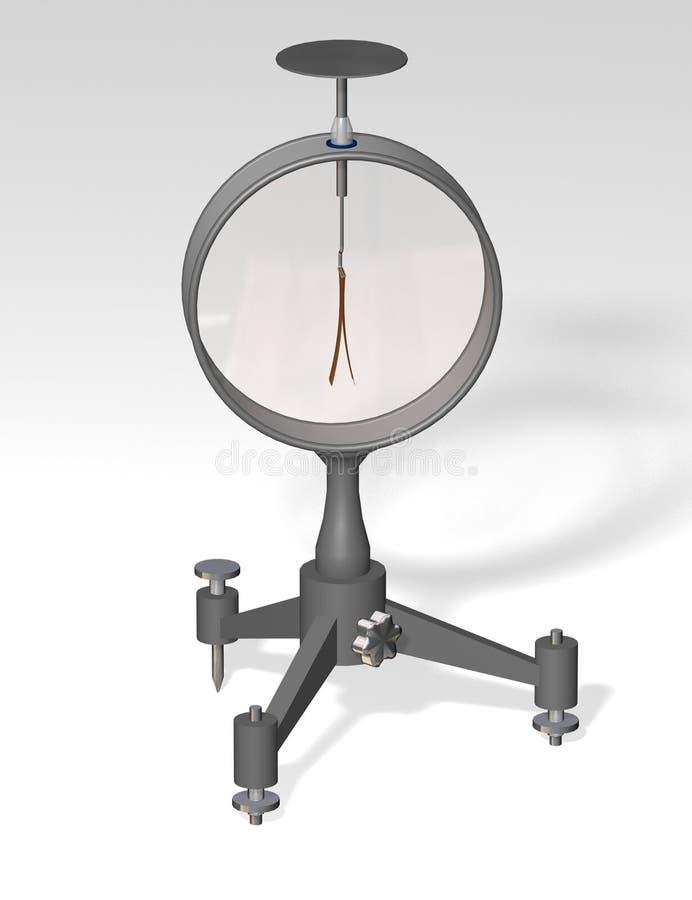 electroscopio Física ejemplo 3D en un fondo gris ilustración del vector