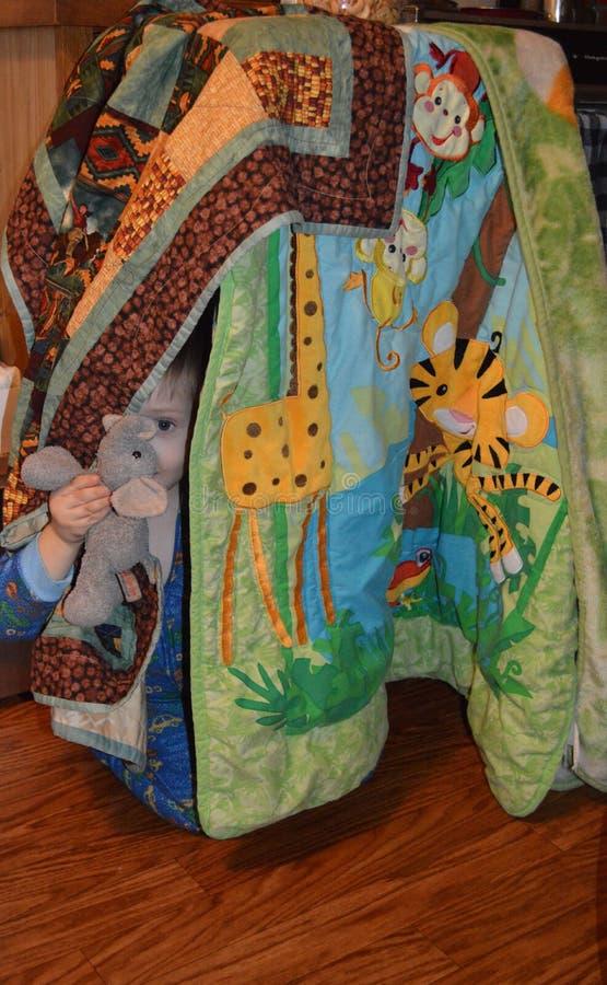 Elefant-älska lilla barnet och hans elefant som kikar ut ur ett filtfort arkivfoto
