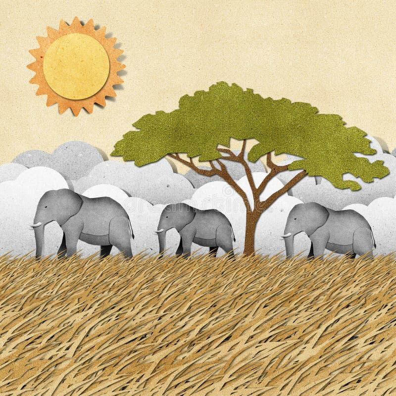 Elefant återanvänd paper bakgrund royaltyfri illustrationer