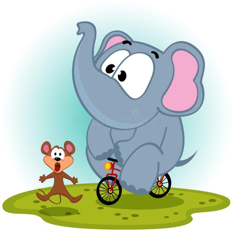 Elefant auf Fahrrad fängt Maus vektor abbildung