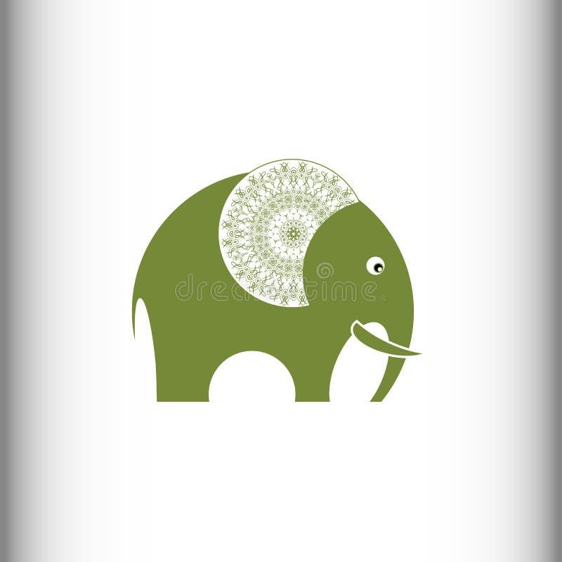 Elefant bakgrund som tecknar den blom- gräsvektorn royaltyfri illustrationer