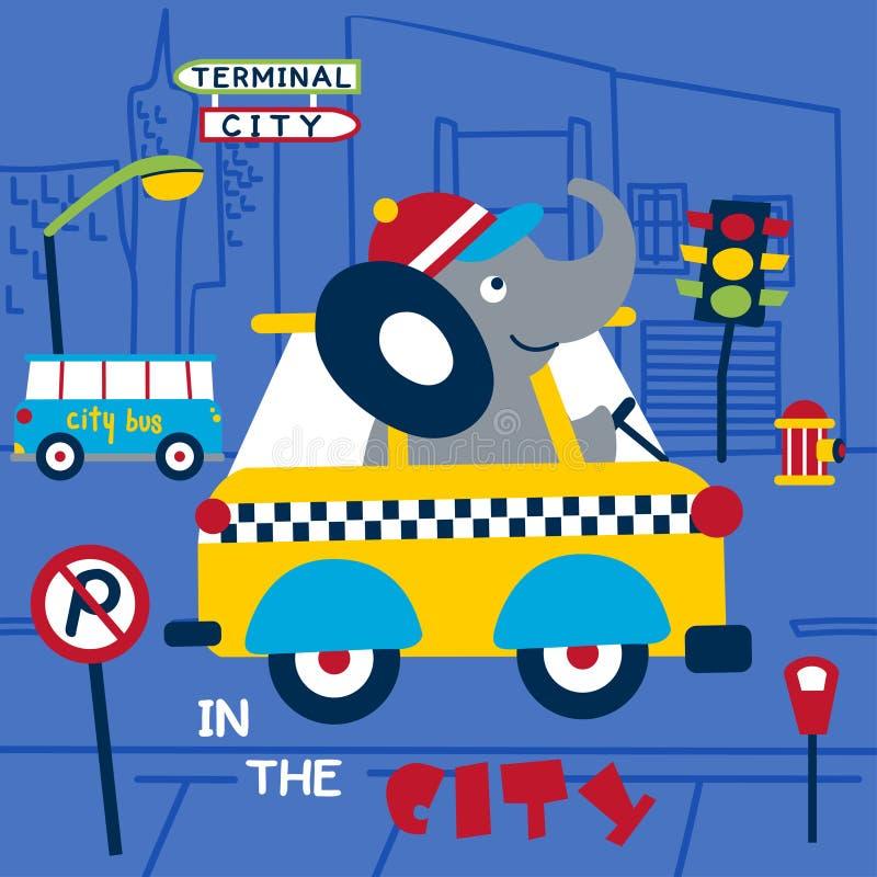 Elefant den roliga tecknade filmen för taxichaufför, vektorillustration vektor illustrationer