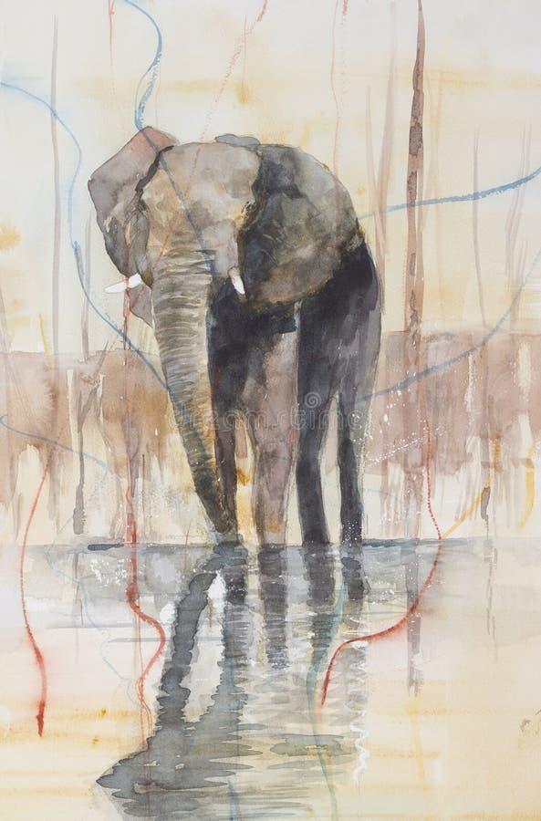 Elefant, der in einem See steht lizenzfreie abbildung