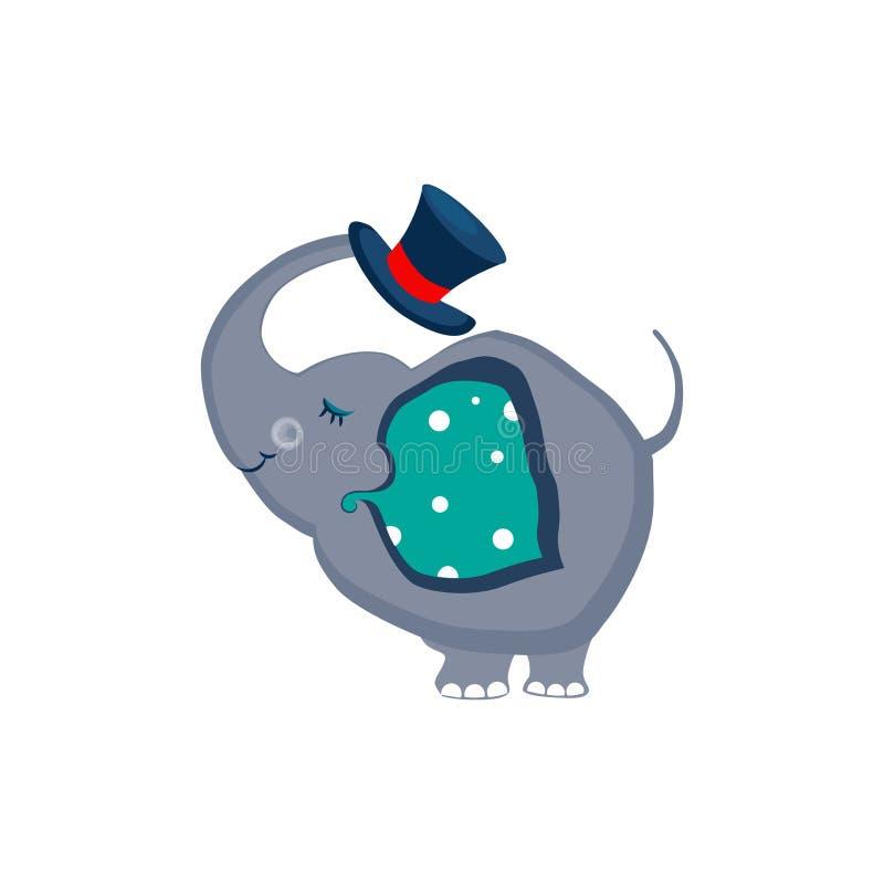 Elefant, der einen Hut mit dem Stamm hält stock abbildung