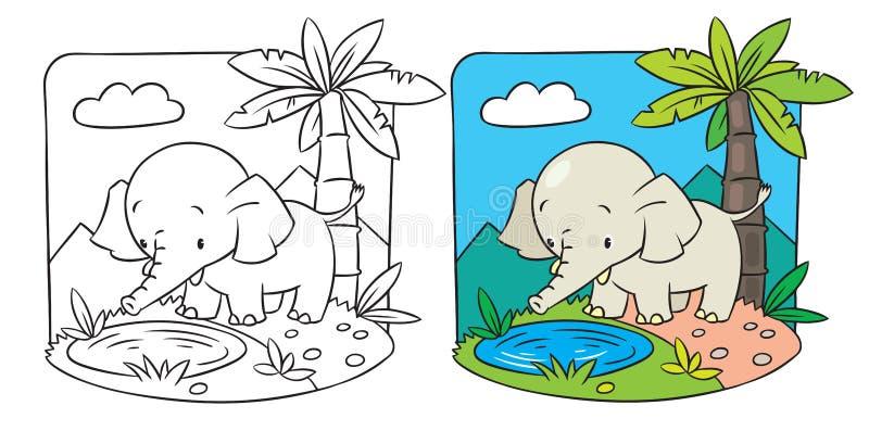 Elefant. Färgläggningbok stock illustrationer