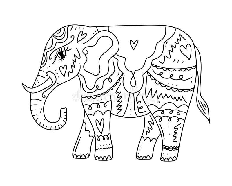 Elefant för stil för utdragen boho för hand stam- Beståndsdel för sida för färgläggningbok, modell, prydnad också vektor för core stock illustrationer