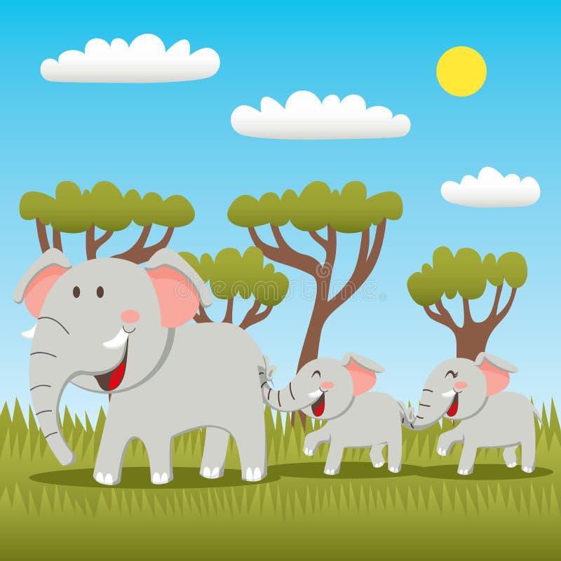 Elefant-Familie lizenzfreie abbildung