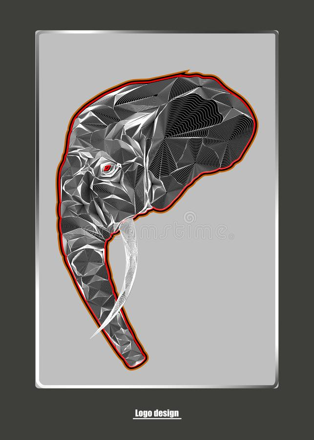 Elefant head logo design. Image for design covers,greeting cards,postcards,flyers,logos vector illustration