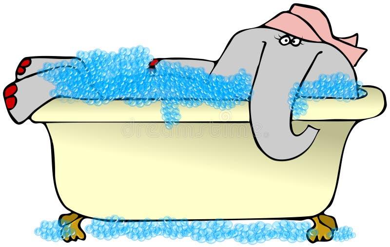 Elefant I En Bubbelbad Stock Illustrationer