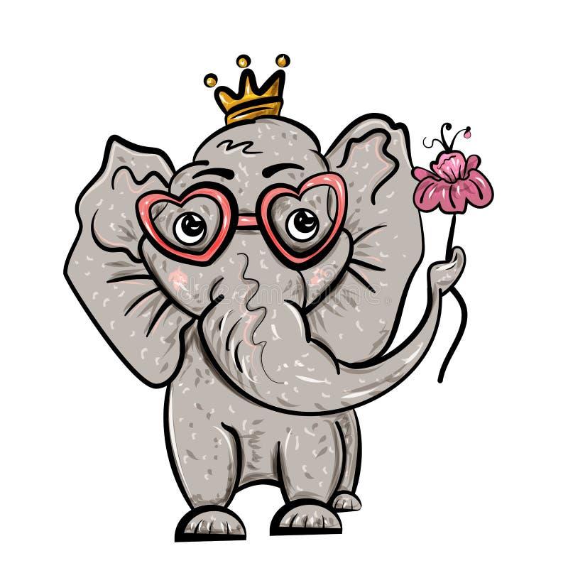 Elefant i kronan och med en blomma Isolerat på vit valentin för dag s Festmåltid av förälskelse också vektor för coreldrawillustr vektor illustrationer
