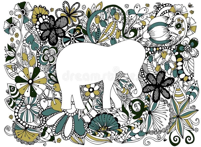 Elefant i ram blå vektor för sky för oklarhetsbildregnbåge royaltyfri illustrationer