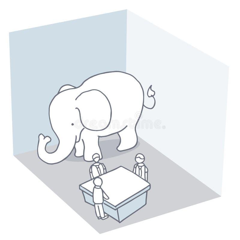 Elefant i rummet vektor illustrationer