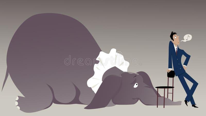 Elefant i rummet stock illustrationer
