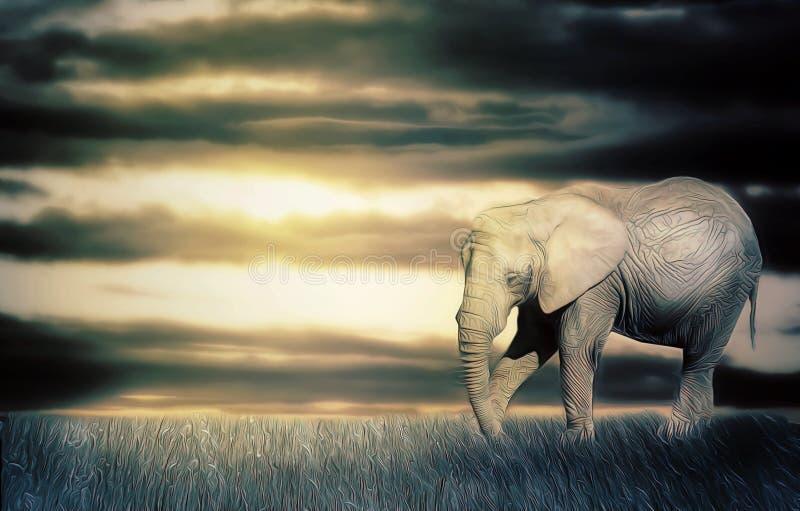 Elefant i solnedgång royaltyfri illustrationer