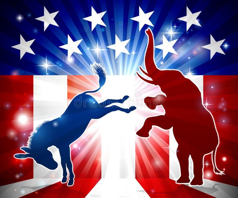 Elefant-kämpfender Esel lizenzfreie abbildung