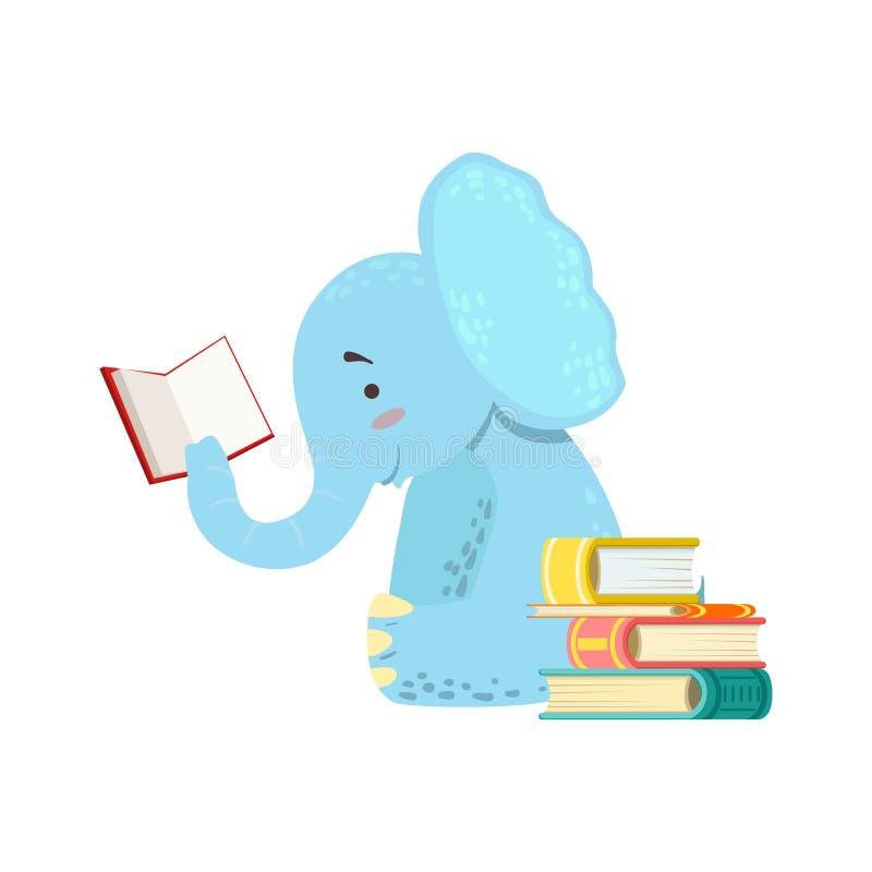 Elefant-lächelnder Bücherwurm-Zoo-Charakter, der ein Buch-Karikatur-Illustrations-Teil Tiere im Bibliotheksbestand liest lizenzfreie abbildung