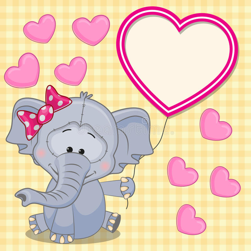 Elefant med hjärtaramen vektor illustrationer