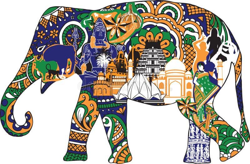 Elefant med indiska symboler royaltyfri illustrationer
